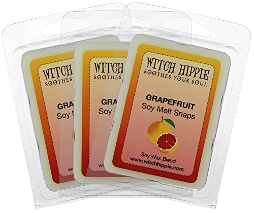 3 Soy Wax Tarts - Witch Hippie Grapefruit Scented Wickless Candle Tarts 3 Pack,18 Natural Soy Wax Cubes Sweet Citrus Scent Reminiscent Of A Fresh Cut Morning Grapefruit