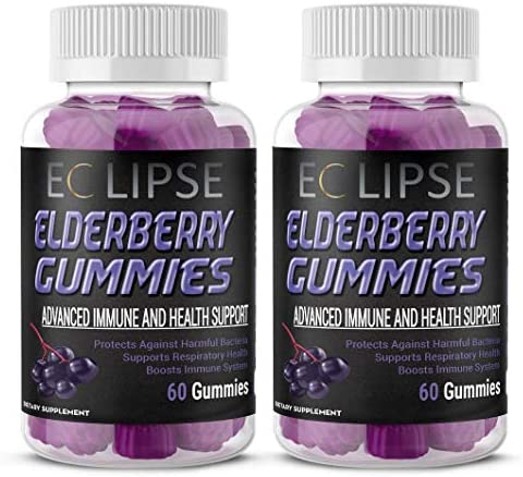2-Pack Elderberry Gummies for Immune Boosting Support – with Vitamin C Zinc – for All Ages – Made in The USA