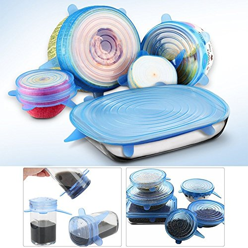 Silicone Stretch Lids - 6 Pack includes EXCLUSIVE XL SIZE, Portable Homes Eco-Friendly Stretch covers for Fruits & Vegetables or Cups, Bowls, Mugs, Dishes, Cans & Plates By E_mon
