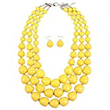 Zthread Multi-Layer Beads Bib Statement Stand Collar Necklace for Women Fashion Accessores (Yellow)
