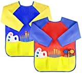 Toys : Attmu 2 Pack Kids Art Smocks, Children Waterproof Artist Painting Aprons Long Sleeve with 3 Pockets for Age 2-6 Years
