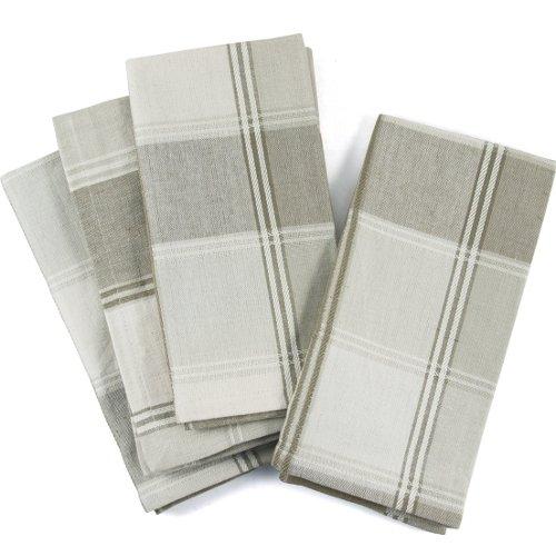 UPC 029441040963, Ivory And Beige Plaid 100% Cotton Dinner Napkins, Set Of 12