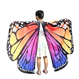 Kehen Kid Girls Soft Fabric Butterfly Wings Shawl Fairy Pixie Accessory Party Costume (Hot Pink)
