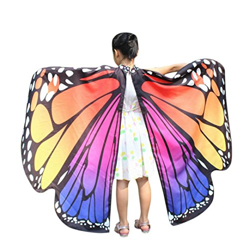 Pink Soft Costumes (Kehen Kid Girls Soft Fabric Butterfly Wings Shawl Fairy Pixie Accessory Party Costume (Hot Pink))