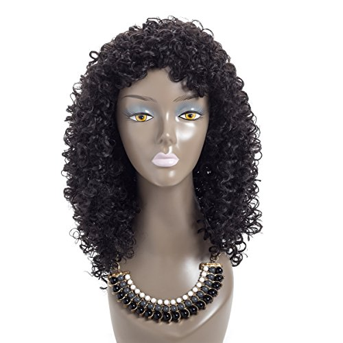 : Eerya Afro Kinky Curly Wig 18 inch Long Hair Synthetic Wigs For Black Women African American Wigs Natural Color (Curly Wave, WL9199/1B)