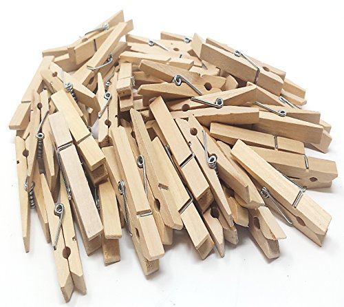 Play Kreative Natural Wood Clothespins - Hanging Pin Craft Clips - 50 Pack - 2 3/8'' Cloth pinClips (Natrual) by Play Kreative