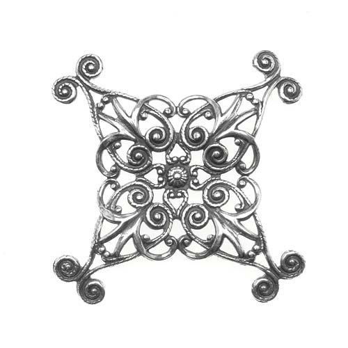 Antiqued Silver Plated Filigree Stamping Dapt Scroll Cross 43mm (1) - Filigree Stamping