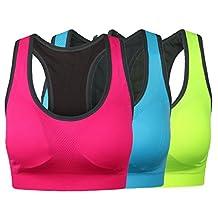 HENNY RUE Women's Racerback Sports Bra Wire Free Padded Workout Yoga Bras