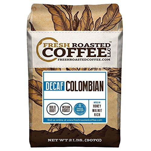 100% Colombian SWP Decaf Coffee, Whole Bean, Swiss Water Processed Decaf Coffee, Fresh Roasted Coffee LLC. (2 lb.) ()