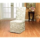 Sure Fit Scroll Box Cushion Full Dining Room Chair Cover, Champagne
