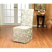 Sure Fit Scroll - Dining Room Chair Slipcover - Champagne (SF35461)