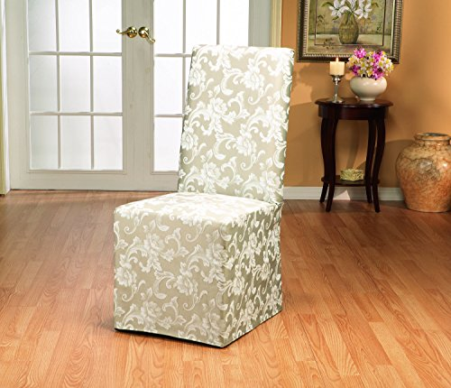 Sure Fit Scroll  - Dining Room Chair Slipcover  - Champagne (Microsuede Dining Chair Cover)
