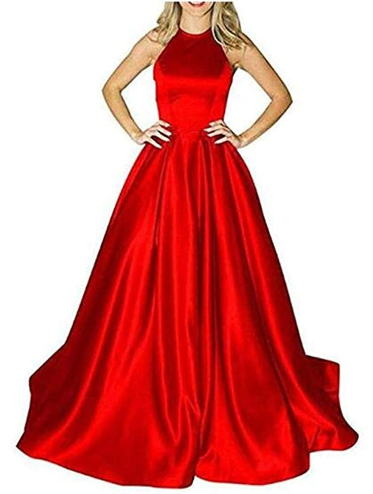 Red Without Belts Yuki Isabelle Women's Halter Beaded Backless Long Formal Evening Wedding Dresses with Pockets