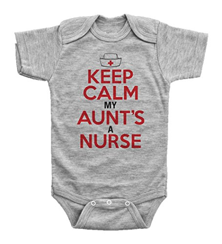 KEEP CALM, MY AUNT'S A NURSE / Funny Onesie from Aunt / Baby Shower / Baffle (12MO, GREY SS)