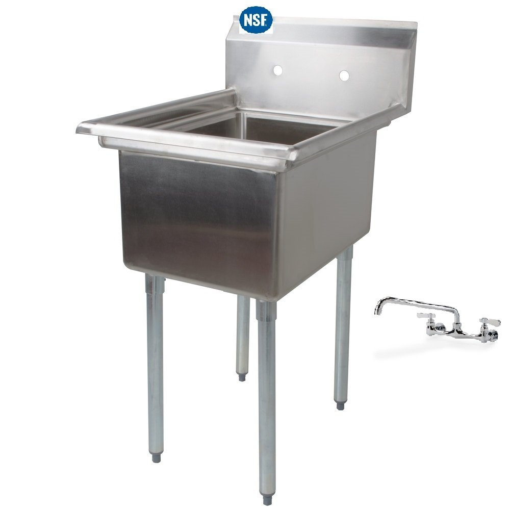 Stainless Steel 1 Compartment Mop Sink 21 X 21 with Faucet