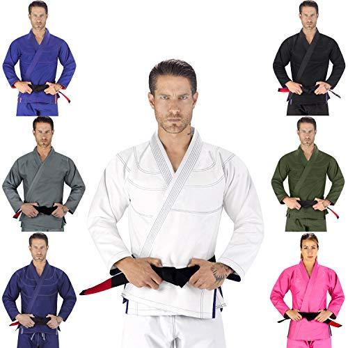 Elite Sports Essential IBJJF Ultra Light Brazilian Jiu Jitsu Adult BJJ Gi W/Preshrunk Fabric & Free White Belt (White, A2) (Best Jiu Jitsu Kimono)