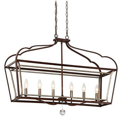 Minka Lavery Pendant Ceiling Lighting 4346-593, Astrapia Large Linear, 6 Light, Dark Rubbed Sienna