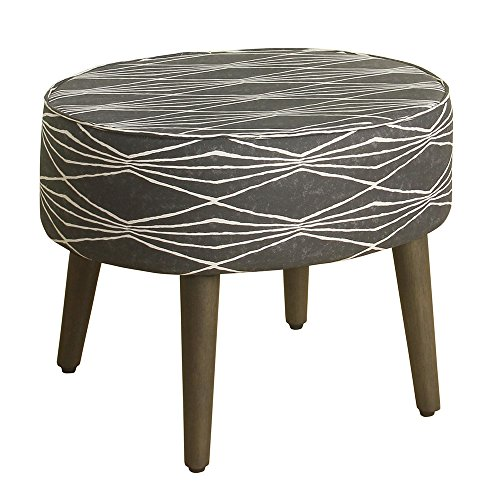 HomePop Mid Mod Oval Ottoman/Stool with Wood Legs, Dark Grey and Cream Triangle