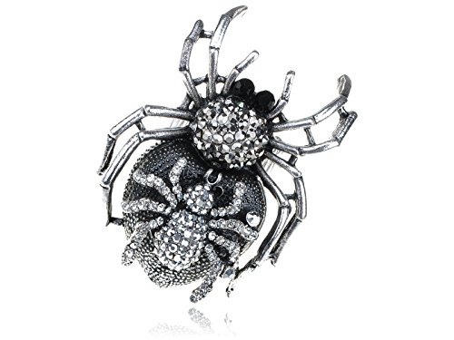 Alilang Adjustable Silver Tone Clear Rhinestones Halloween Mother Spider Ring ()