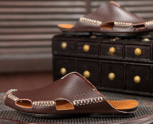 Breathable Leather Men PU Toe Sandals Dark Brown Close ODEMA 6FOgwqw