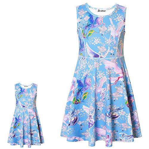 (Sleeveless Flower Unicorn Dresses for Little Girls Floral Casual Sun Dresses)