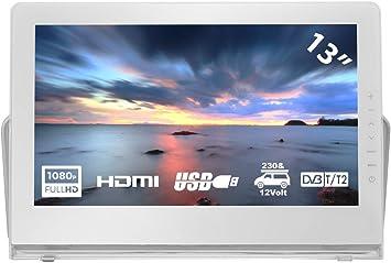 HKC P13H6 Mini TV portátil (TV Full HD de 13 Pulgadas) HDMI + USB, 60Hz, Reproductor Multimedia, batería incorporada, Cargador de Coche de 12 V, Antena portátil: Amazon.es: Electrónica