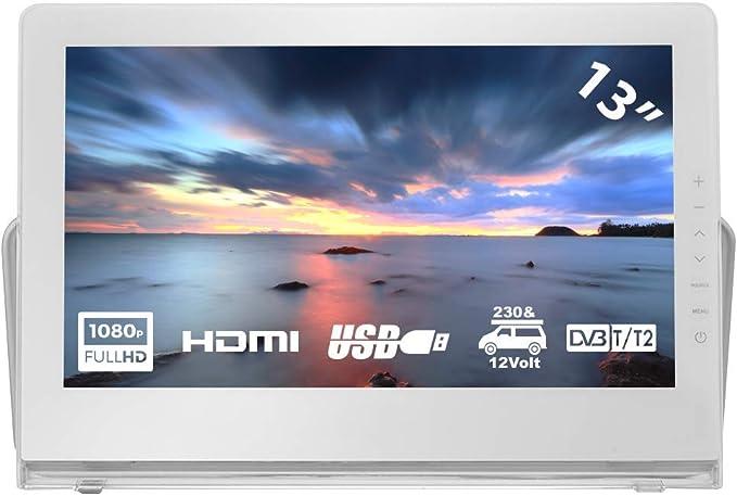 HKC P13H6 Mini TV portátil (TV Full HD de 13 Pulgadas) HDMI + USB, 60Hz, Reproductor Multimedia, batería incorporada, Cargador de Coche de 12 V, ...