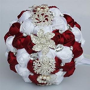 FYSTORE Bride Bouquet Crystal Wedding Rhinestone Brooch Bouquets Brides Hand Holding 6