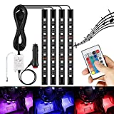 AMBOTHER 4x 12-Color 36-LED Car LED Interior Atmosphere Decorative Strip Lights, Glow Neon Floor Decoration Underdash Lighting Lamp Kits, with IR Wireless Remote Control & Car Charger DC 12V