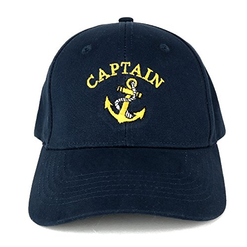 Captain Anchor Embroidered Deluxe 100% Cotton Cap (One Size, Navy) ()