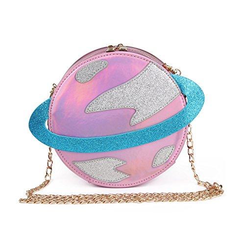 Haolong Women Circular Planet Party Bag Shoulder Bag Exquisite Cross Body Bag  Pink