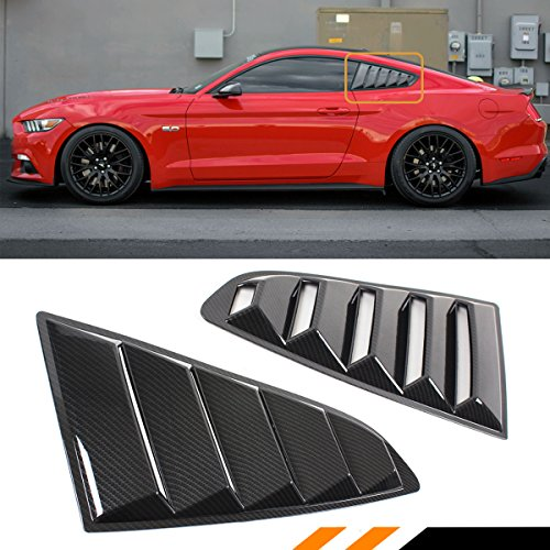 Cuztom Tuning Fits for 2015-2018 Ford Mustang S550 GT Painted Carbon Fiber Look Rear Side Window 1/4 Quarter Scoop Louver Cover