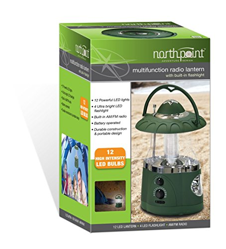 Northpoint 12 LED Lantern with 4 LED Flashlight and AM/FM Radio