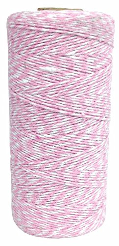 Just Artifacts ECO Bakers Twine 240yd 4Ply Striped Light Pink - Decorative Bakers Twine for DIY Crafts and Gift Wrapping (Light Pink Bakers Twine)