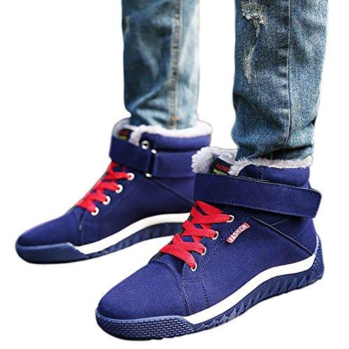 Santimon Mens Bottes Dhiver Neige Lacent Chaud Hiver Fourrure Doublure Anti-dérapant Cheville Randonnée Extérieure Chaussures De Plate-forme De Chaussures Bleu