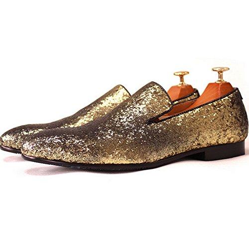 Fulinken Mannen Echt Leer Mens Metallic Getextureerde Slip-on Glitter Loafers Schoenen Goud