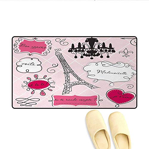 (Bath Mat,Doodle Frames in French Style Rococo Baroque Lantern Mademoiselle Print,Floor Mat Pattern,Hot Pink and)