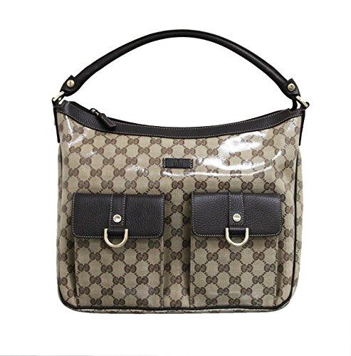 Gucci Beige Crystal Canvas Abbey Hobo Purse Handbag 293581