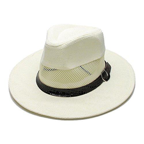 - G&R GR Women's Men's Summer Straw Wide Brim Beach Panama Sun Fedora Hat Hollow Out Mesh Snake Skin Serpentine Band (Color : Cream, Size : 58cm)