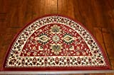 2'2'' x 3'3' Traditional Design Hearth Slice Rug Red Beige Fireplace Lodge Cabin Doormat