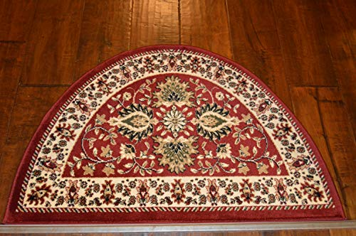 2'2'' x 3'3' Traditional Design Hearth Slice Rug Red Beige Fireplace Lodge Cabin Doormat by Premier