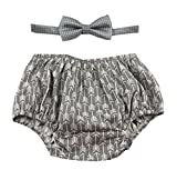 Cake Smash Outfit Boy First Birthday Includes Bloomers and Bow Tie (Gray Arrows Bloomer and Gray White Polka Dot Bow)
