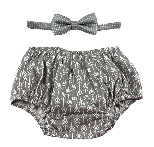 Cake Smash Outfit Boy First Birthday Includes Bloomers and Bow Tie (Gray Arrows Bloomer and Gray White Polka Dot Bow) by Gentlemen Ties