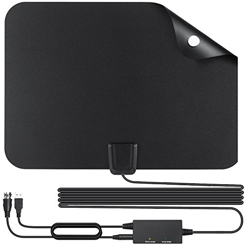 HD TV Antenna Indoor Digital Amplified HDTV Antenna 60 Mile Range 2018 Newest Creative Switch Console Amplifier Signal Booster, 16.5FT High Performance Coaxial Cable - 4K HD Signal Reception