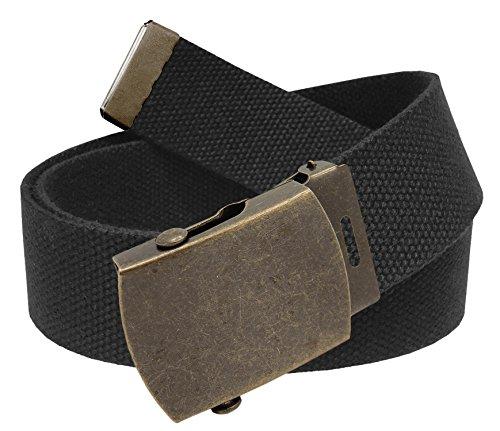 Men's Golf Belt in 1.5 Antique Gold Brass Slider Buckle with Canvas Web Belt Large Black ()