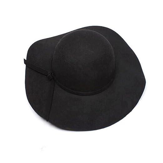 Amazon.com  Anboo Women Wool Wide Brim Felt Bowler Fedora Hat Floppy ... 619cf2e5669
