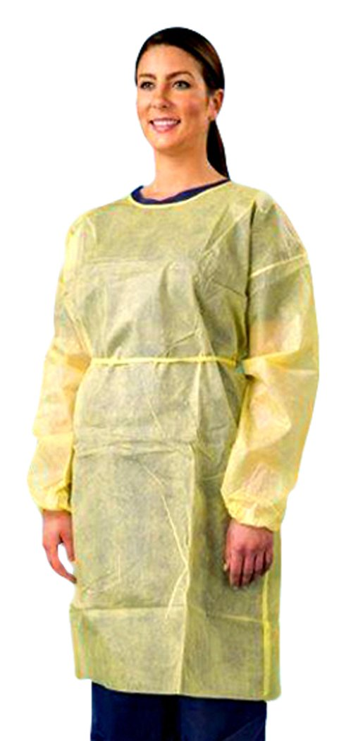 Cellucap 436TY Poly Coated Polypropylene Gown/Smock, Universal, Yellow (Pack of 50) by CELLUCAP MANUFACTURING