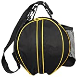 """Katech Size 7 (29.5"""") Basketball Bag Practical Rounded Sports Ball Bag Football Volleyball Soccer Ball Carrier Holder with Removable Shoulder Strap 2 Side Mesh Pockets"""