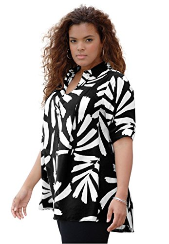 Roamans Plus Size Fit And Flare Shirt – 12 Plus, Black Abstract