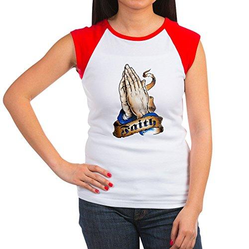 Faith Womens Cap Sleeve T-shirt - Royal Lion Women's Cap Sleeve T-Shirt Faith Religious Praying Hands - Red/White, M (8-10)